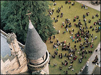 An aerial picture of students at University of Glasgow