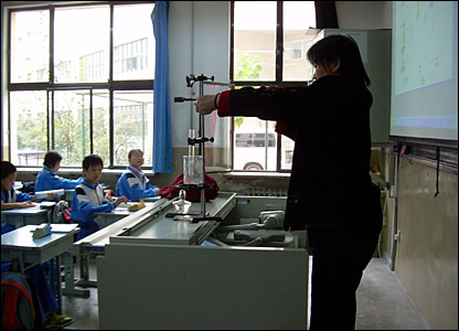 A science class in action at the Beijing academy