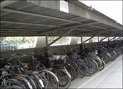 Bikes lined up outside the school.