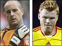 Liverpool keeper Jose Reina and defender John Arne Riise