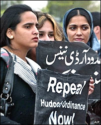 Women's protest outside national assembly in Islamabad