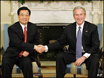 Mr Bush and Mr Hu meeting in April 2006 at the White House