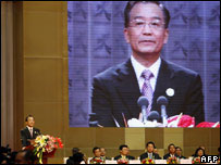 : Chinese Premier Wen Jiabao speaking to S E Asian delegates at a recent China-Asean forum