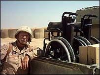 DeWayne Browning with wheelchair in Iraq (photo care of same)