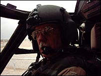 DeWayne Browning at controls of his Black Hawk in Iraq (photo care of same)
