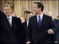 Labour Prime Minister Tony Blair, left, with Conservative leader David Cameron