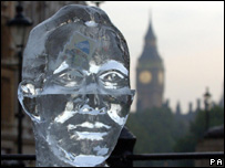 Ice sculpture of Tony Blair (Image: PA)