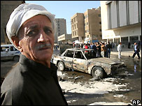 Aftermath of Baghdad car bomb 12 November 2006