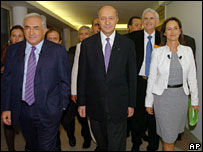 French Socialist candidates: Dominique Strauss-Kahn, Laurent Fabius, Segolene Royal - in Toulouse last week