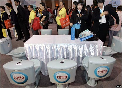 Toilets as dinner table seats at Bangkok expo