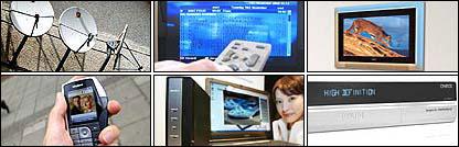 Clockwise from top left - Satellite dishes; PVR; HDTV; HDTV box; internet TV; mobile TV