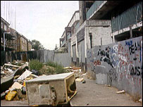 Blighted inner city area