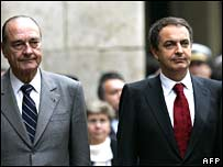French President Jacques Chirac (left) and Spanish PM Jose Luis Rodriguez Zapatero 