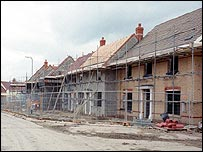 New houses being built near the village of Little Dunmow, in Essex