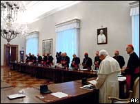 Pope Benedict XVI presided over a meeting with Vatican top officials