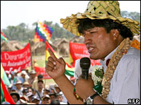 Bolivia's President Evo Morales delivers a speech in Santa Cruz province