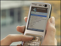 Nokia N73 X-Series phone, using MSN messenger