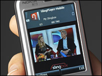 Nokia N73 X-Series phone, using Slingbox to watch BBC Two