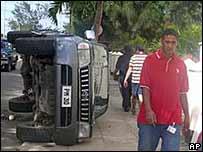Overturned car in Nuku'alofa, Tonga