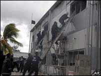 Firefighters in building in Nuku'alofa, Tonga