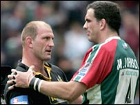 Lawrence Dallaglio and Martin Johnson