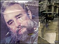 A picture of Cuban President Fidel Castro on display on a Havana window