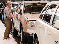 Ford worker on US production line