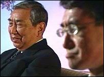 Yohei Kono and son Taro Kono