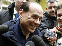 Silvio Berlusconi is interviewed after leaving hospital