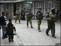Israeli forces in the centre f the West Bank city of Hebron