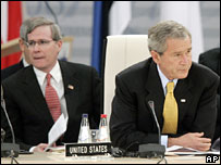 US National Security Adviser Stephen Hadley and President George Bush in Riga, Latvia, at the Nato summit on Wednesday