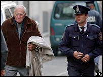 Juan Maria Bordaberry (left) seen leaving after a court appearance  in 2005