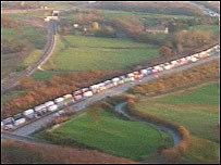 Lorries parked on the M20 during Operation Stack
