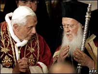 Pope Benedict XVI (left) and Ecumenical Patriarch Bartholomew during a service at the St George Church