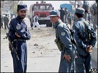 Afghan police at the site of a suicide car bomb in the southern city of Kandahar. File photo