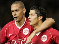 Rio Ferdinand congratulates Cristiano Ronaldo after his goal