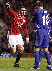 O'Shea celebrates scoring United's third goal