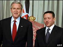 Mr Bush with Jordan's King Abdullah after talks in Amman