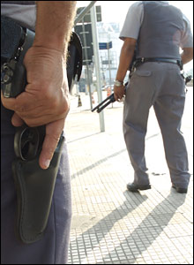 Armed police officers in Sao Paulo