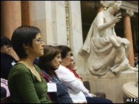 Women attend a session on abortion in Portugal in Lisbon's parliamentary building