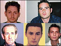 Clockwise from top left: Alexander Colin Dalgleish, Gordon Stewart, Kamil Krawiec, Joshua Karney and Paul Turner