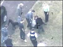 Police helicopter footage of rapist's capture