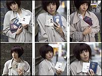 Six pictures of Shahida holding fake passports