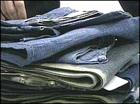 Fake designer jeans