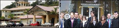 Composite images of MRSM residential school, Kuala Kubu Baru, Malaysia and UK's Royal Latin school
