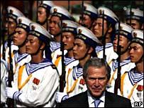 US President George W Bush in Vietnam