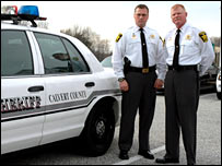 Lieutenant Dave McDowell (left) and Major Thomas C. Hejl, from Calvert County Sheriff's Office.
