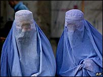 Women wearing burqas 