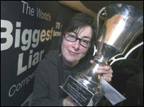 Sue Perkins with her trophy