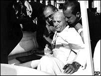Pope John Paul II after being shot